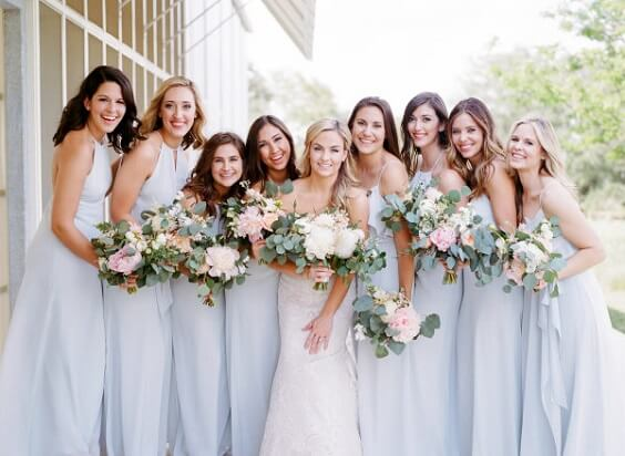 Light blue bridesmaid dresses and white bridal gown for Light blue and pink May Wedding