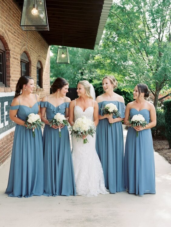 dusty blue bridesmaid dresses and white bridal gown for dusty blue and greenery May Wedding