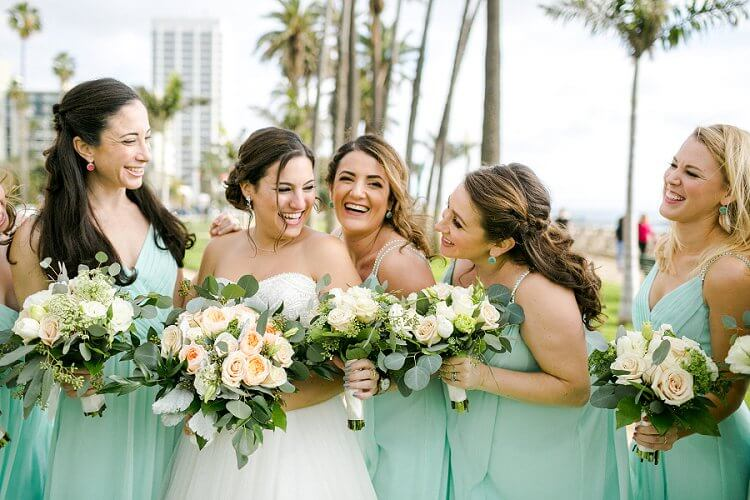 Mint Green bridesmaid dresses for Mint Green and Peach May wedding