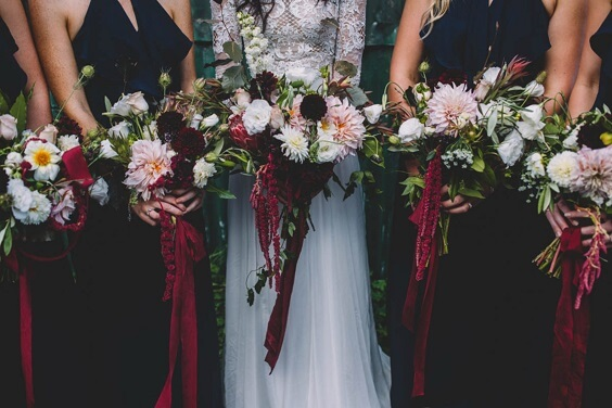 b1196 navy blue bridesmaid dresses and burgundy bouquets for september navy blue and burgundy wedding 2019