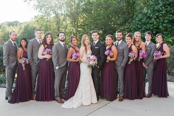 plum bridesmaid dresses and grey men's suits for september plum and grey wedding 2019