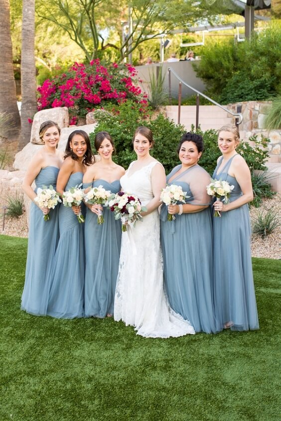 dusty blue bridesmaid dresses and yellow bouquets for september dusty blue and yellow wedding 2019