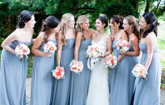 sky blue bridesmaid dresses for july sky blue and peach wedding 2019