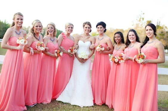 coral bridesmaid dresses for july coral and white wedding 2019
