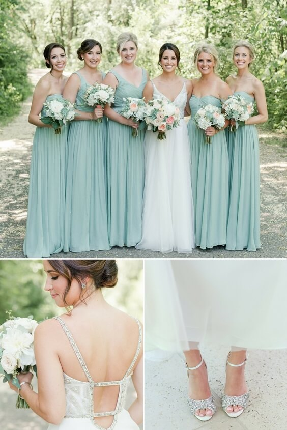 Bridesmaid dresses for Sage Green and Peach June Wedding
