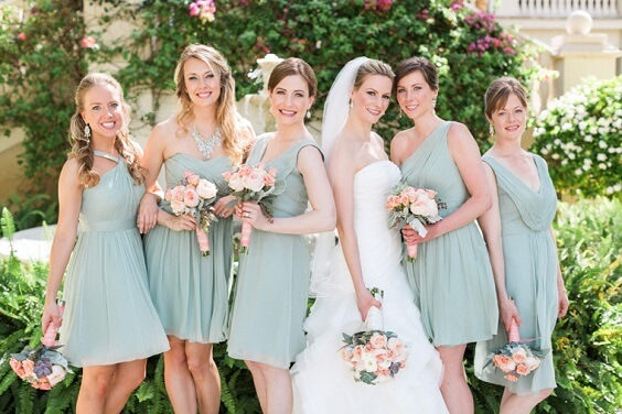 Sage Green Bridesmaid Dresses for Sage Green and Peach June Wedding