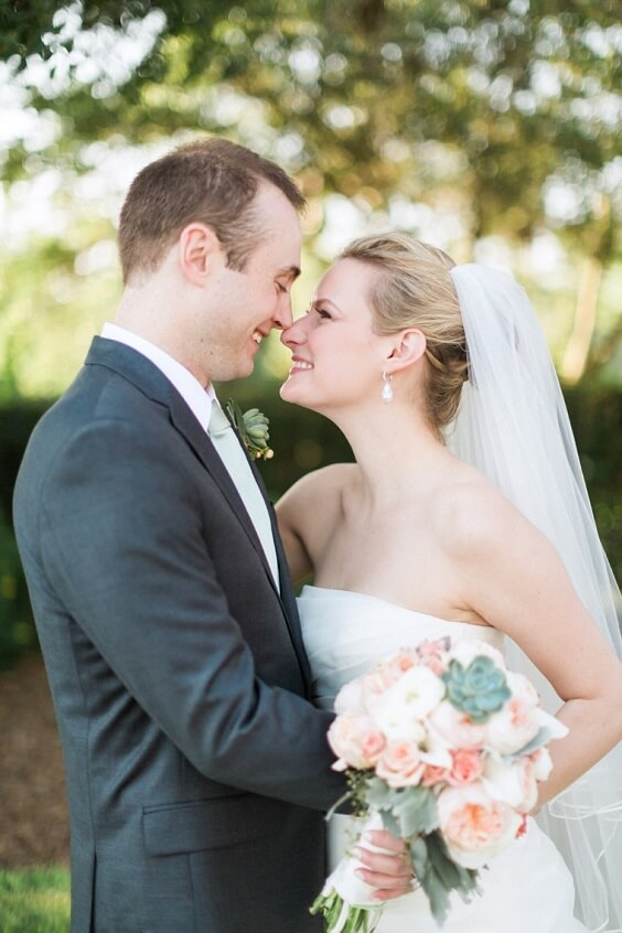 Deep grey suits for Sage Green and Peach June Wedding