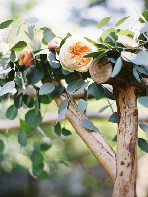 Wedding arch decorations for Sage Green and Peach June Wedding