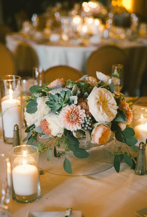 Wedding centerpieces for Sage Green and Peach June Wedding