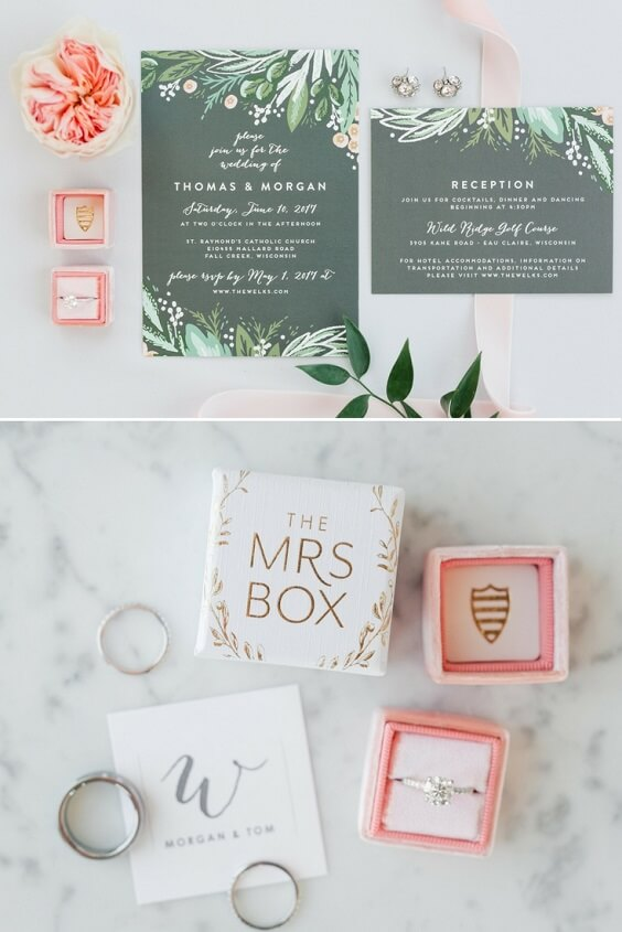 Wedding invitations for Sage Green and Peach June Wedding