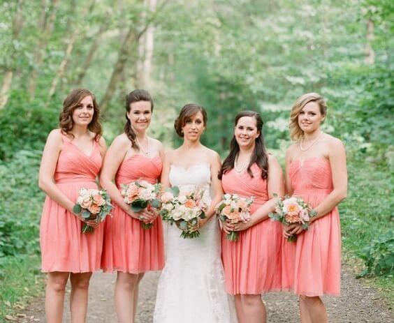 Peach bridesmaid dresses for peach and green June Wedding