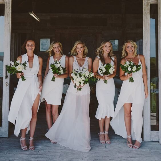 White bridesmaid dresses for White and Green June Wedding