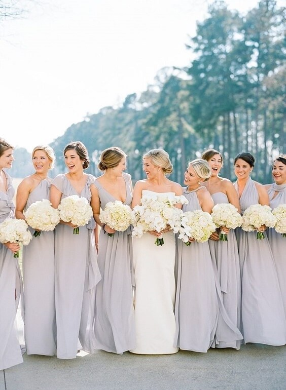 Silver grey bridesmaid dresses for Silver grey and white June Wedding