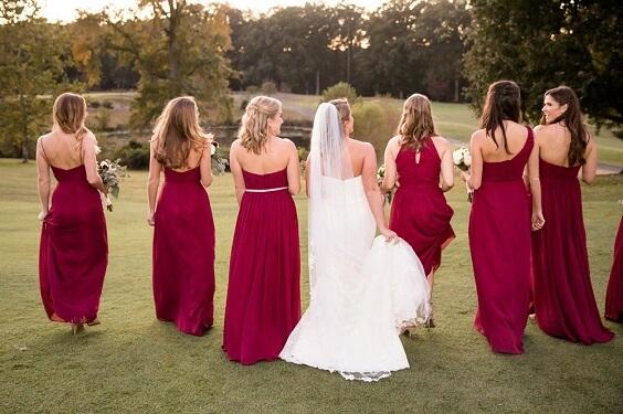 maroon bridesmaid dresses for november maroon and yellow wedding 2019
