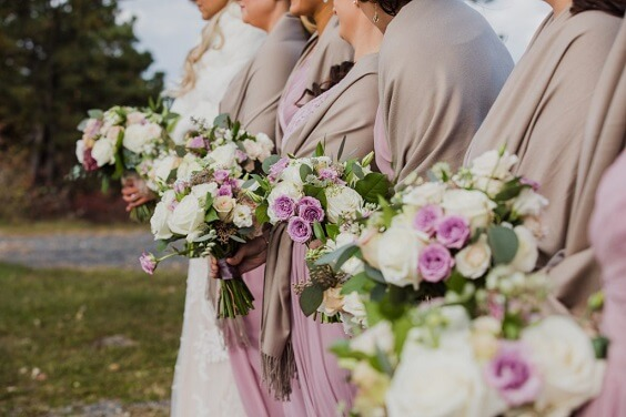 November Wedding Mauve Bridesmaid Dresses And Navy Man S Suit With Mauve Bow Tie Colorsbridesmaid