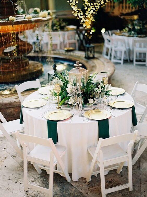 November Wedding-Hunter Green Bridesmaid Dresses, Gold Tableware ...
