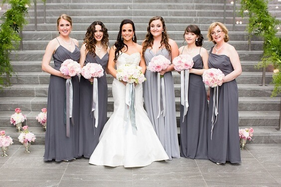 grey bridesmaid dresses for november grey and pink wedding 2019