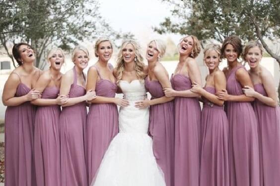 Bridesmaid dresses for Mauve November wedding