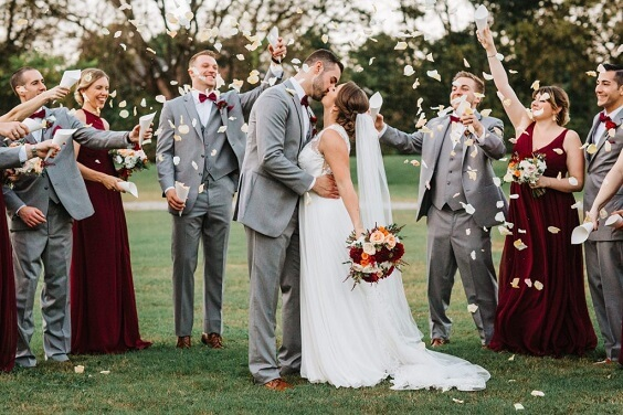 dark red bridesmaid dresses and grey men's suits for october dark red and grey wedding 2019