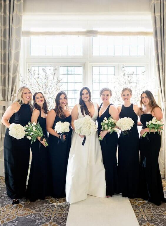 Black Bridesmaid Dresses for Black and White Winter Wedding