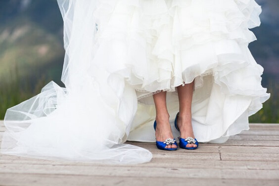 Bridal shoes for royal blue and pink winter wedding