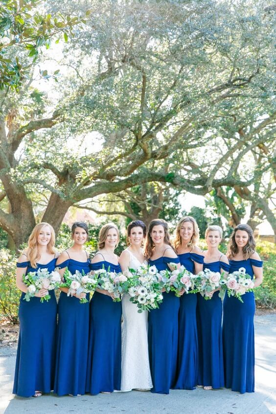 Royal blue bridesmaid dresses for royal blue and pink winter wedding