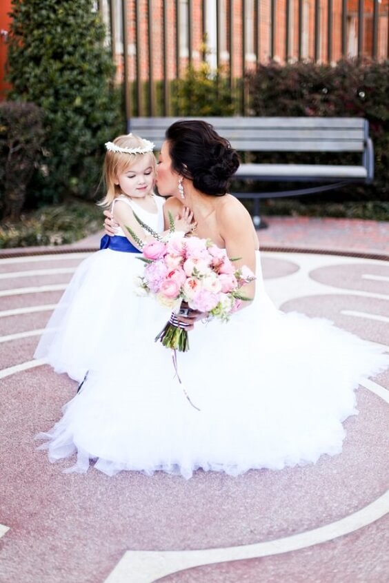 Flower girl dress for royal blue and pink winter wedding