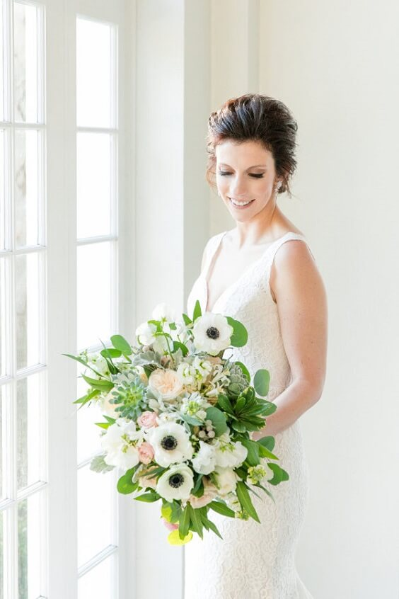 Wedding bouquets for royal blue and pink winter wedding