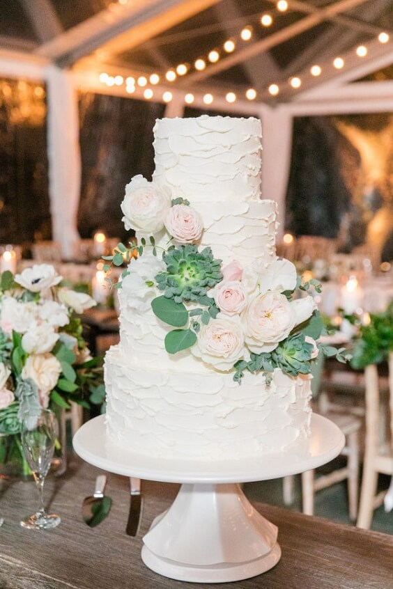 Wedding cake for royal blue and pink winter wedding