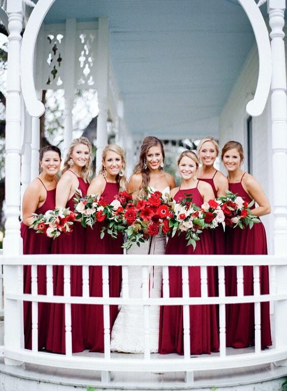 Dark red bridesmaid dresses for dark red and pink winter wedding