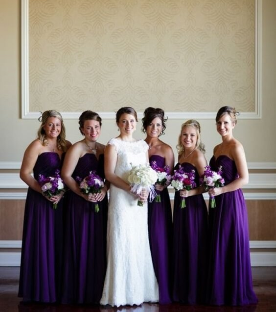 Bridesmaid dresses for purple and grey winter wedding