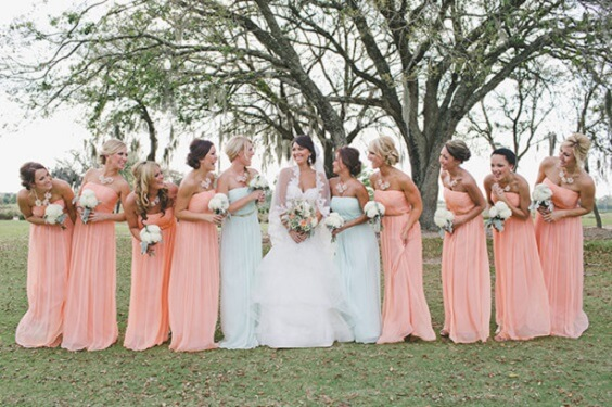 peach and mint green bridesmaid dresses for spring wedding peach and mint green 2020