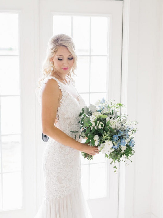 Bridal bouquet for Light Blue and White Summer wedding