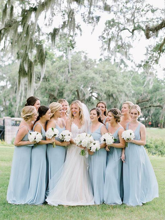 Bridesmaid dresses for Light Blue and White Summer wedding