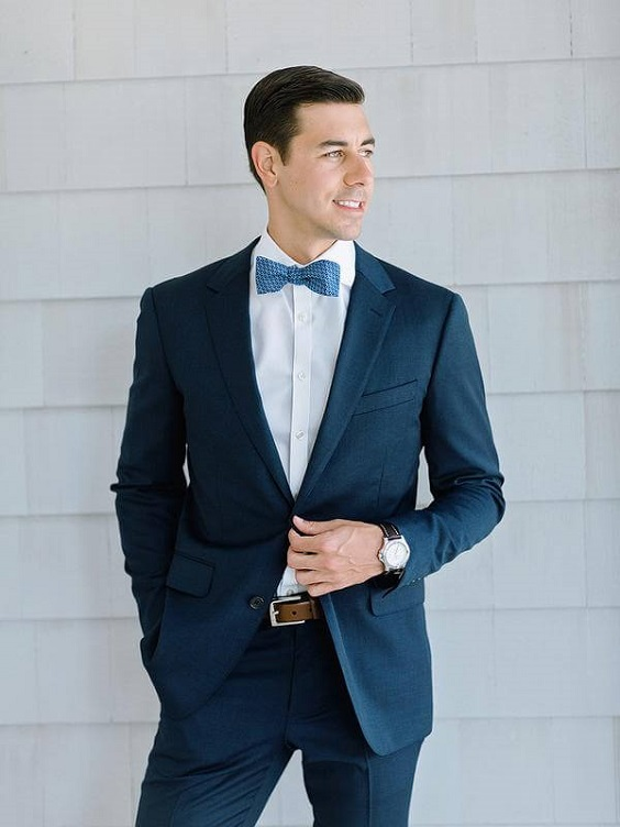 Navy Groom Suit for Light Blue and White Summer wedding