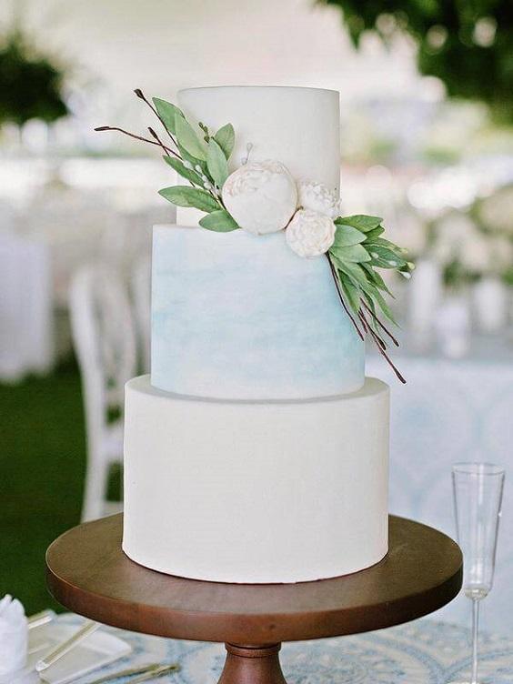 Wedding cake for Light Blue and White Summer wedding