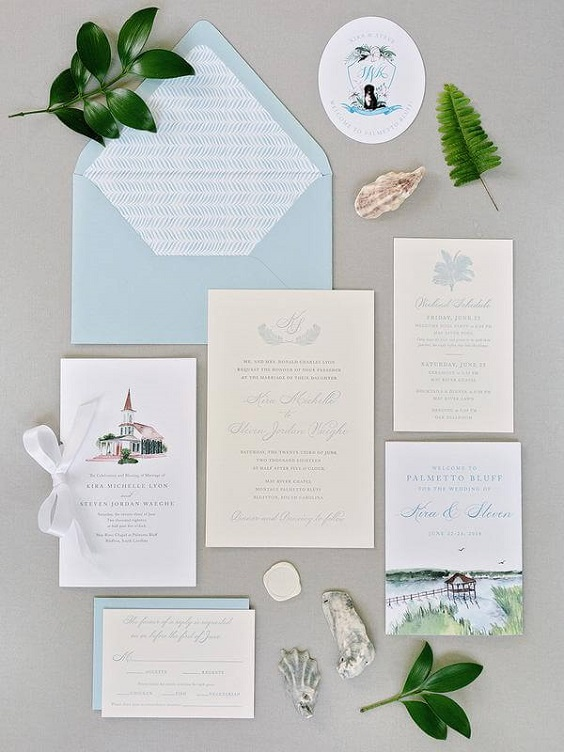 Wedding invitations for Light Blue and White Summer wedding