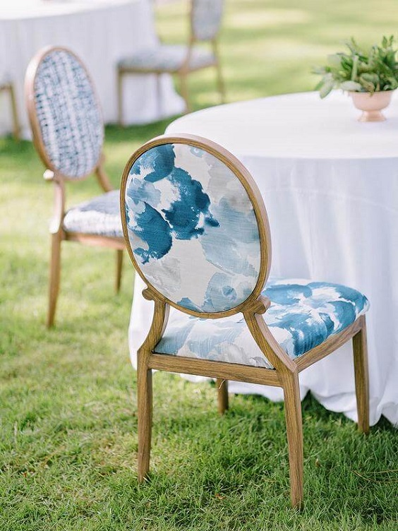 Wedding reception decorations for Light Blue and White Summer wedding