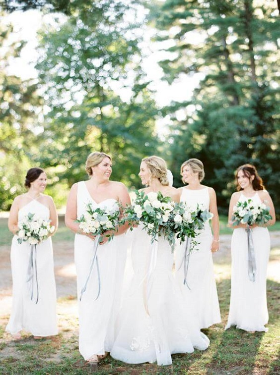 White And Greenery Summer Wedding White Bridesmaid Dresses
