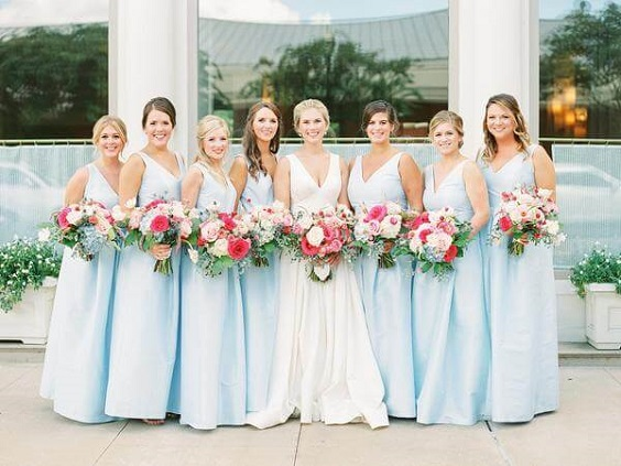 Ice Blue And Hot Pink Summer Wedding Ice Blue Bridesmaid Dresses