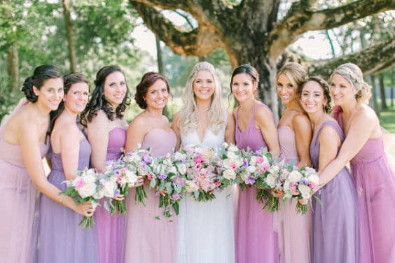 Purple And Pink Summer Wedding Mismatched Bridesmaid Dresses In Light Purple And Pink Colorsbridesmaid