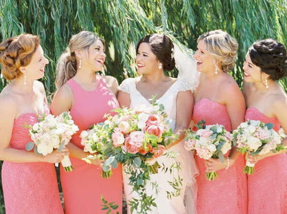 Rose pink Bridesmaid dresses for rose pink and grey summer wedding