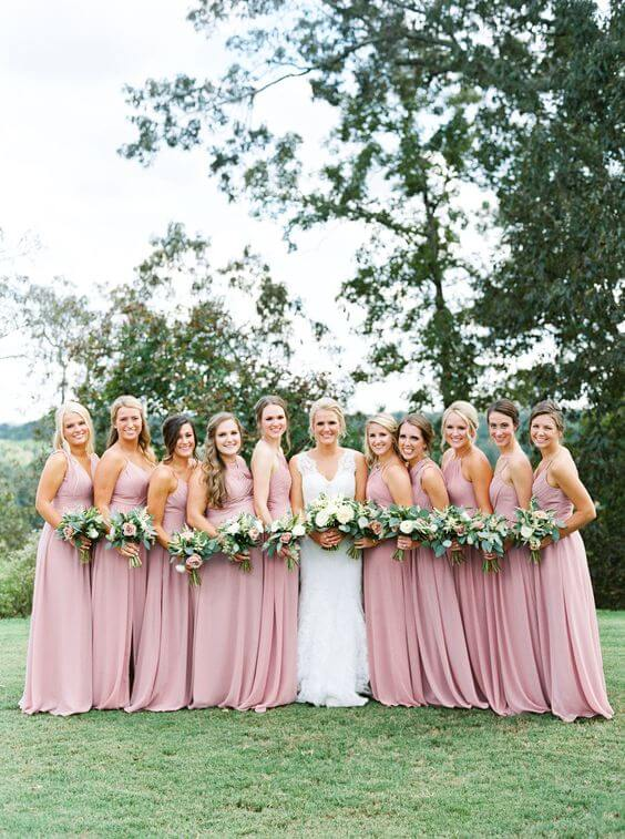 Dusty rose bridesmaid dresses for dusty rose and black summer wedding