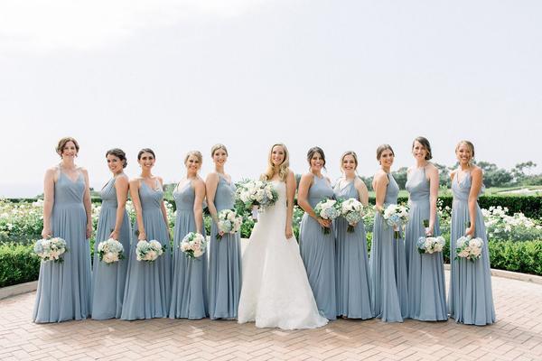 Dusty blue bridesmaid dresses for dusty blue and blush summer wedding