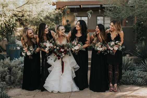 black bridesmaid dresses for fall wedding black and burgundy 2020