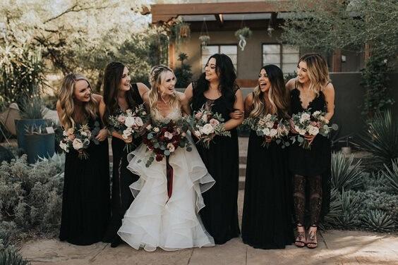 black bridesmaid dresses for fall wedding black and burgundy 2020