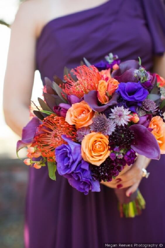 Fall Wedding Purple Bridesmaid Dresses With Orange Bouquets And