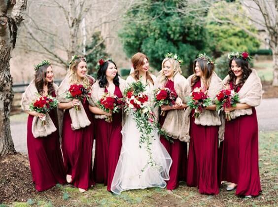 Burgundy bridesmaid dresses for burgundy and navy blue winter wedding