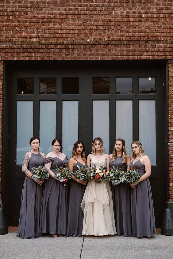 Grey bridesmaid dresses for grey and black winter wedding