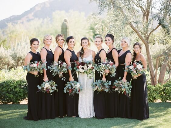 Black bridesmaid dresses for Black and Burgundy winter wedding